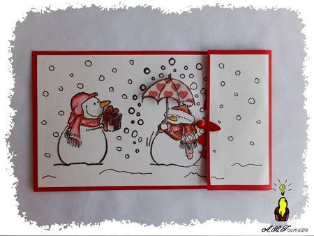 ART 2012 12 bonhommes de neige noir et rouge 1
