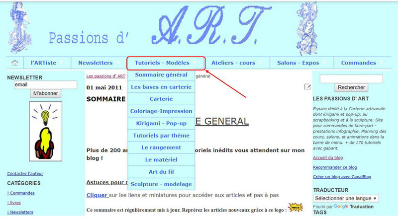 banniere blog menu deroulant sommaire