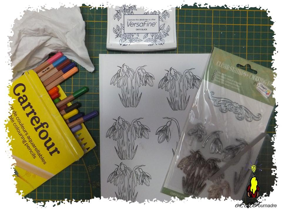 tampon et crayons aquaellables